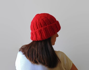 Red Beanie, Chunky Knit Hat, Slouchy Beanie, Red Knit Hat, Beanie Hat, Womens Beanie, Winter Beanie, Wool Beanie, Hand Knit Beanie, Wool Hat