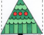 "ACEO Original Illustration - Artist Trading Card - Folk Art - Cute Whimsical - 2.5"" X 3.5"" - Joyful Noel"