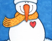 "ACEO Original Illustration - Artist Trading Card - Folk Art - Cute Whimsical - 2.5"" X 3.5"" - Smiling Snowman"