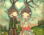 Love Print---Forest Love Couple Trees, Bears Bird Whimsical Wall Art