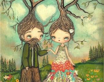 Love Print---Forest Love Couple Trees, Bears Bird Whimsical Wall Art LARGE PRINT 11 x 14
