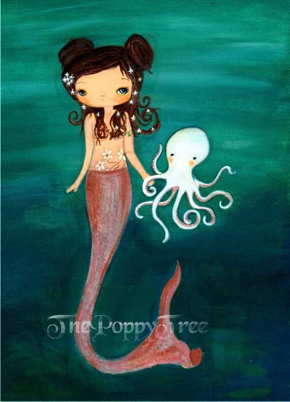 Mermaid Print Wall Art Octopus Nautical Girl Print ---Sea Friends