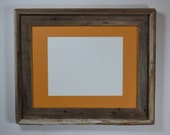 11x14 natural wood picture frame with dark yellow mat for 8x10 or 8x12 or 9x12