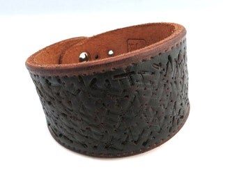 Hand Embossed Black and Brown Rawhide Leather Bracelet, Unisex Leather Jewelry, Leather Accessories