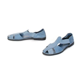 size 9 GRUNGE blue leather 80s 90s STRAPPY CUTOUT elastic sandals
