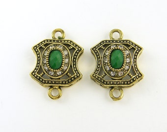 Green Antique Gold Jewelry Connector with Clear Rhinestone Double Loop Drop Finding for Earrings Bracelets Pendants  GR8-3 2 XD