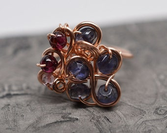 14k rose gold fill iolite water sapphire garnet and amethyst cluster wirework wrap cocktail ring