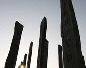 Zen Thoughts - Wisdom Path (Buddhism infinity peaceful monastery wood pillars backlit sunset black and white photo print, Hong Kong travel)