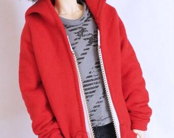 BJD MSD Minifee Boy Red oversized sweatshirt jacket Male bjd clothes
