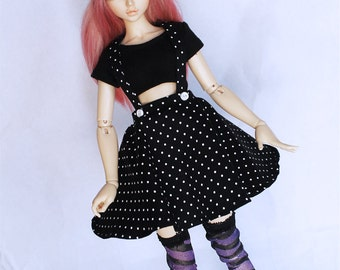 MSD BJD clothes Black polka dot suspender circle skirt by MonstroDesigns