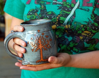 Slate Blue Tree of Life Mug or Tree of Gondor - Made to Order