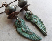 Like an Egyptian ... Bronze Metal Clay and Lampwork Wire-Wrapped Boho, Egyptian Earrings