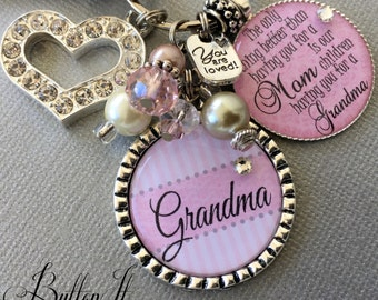 Personalized grandma gift, gifts for grandma, only thing better than having you for a mom, birthday gift, Nana gift, CHARM key chain, blush
