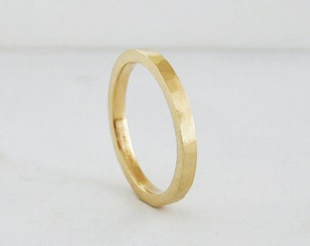 Hammer Texture Wedding Band | 2mm Heavy Band | Yellow White Rose Gold |10k 14k 18k Recycled Gold| Eco friendly Flat Comfort Fit Wedding Band