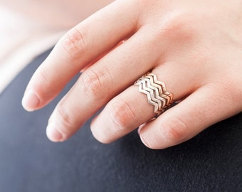 Silver Birds in Flight Ring | Nature Inspired | Silver Stacking Ring| Zig Zag Ring