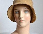 Women's Cloche Hat in Camel Wool - 1920s Style Cloche