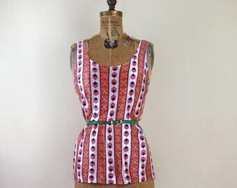 vintage 1970s Orange + Blue Striped Tank Top - sleeveless blouse, shirt - size small to medium