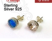 6pcs x Quality Cast Bezel on Post earring bases 6mm Sterling Silver 925 with ear backs (2710177)