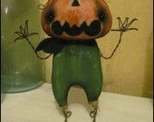 Reserved 4 ANDREA Scary Face Halloween Pumpkin spooky cute anthropomorphic Whimsical farm fall harvest decor Primitive HaFair Ofg HAGuild