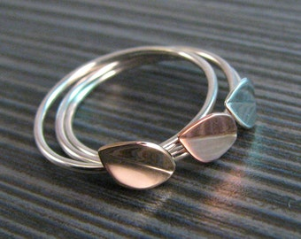 Stackable Tiny Leaf Ring -  Dainty Boho Stacking Ring - Silver Copper or Bronze Mixed Metals - Made to Order - Compatible Rings Available