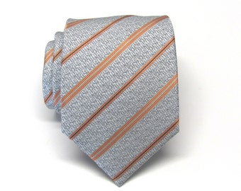 Mens Ties. Silver Gray and Dusty Orange Stripes Silk Mens Neckties