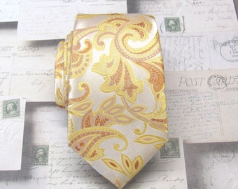 Gold Yellow Paisley Mens Ties. Wedding Ties. Narrow Ties. Gold Cream Paisley Men's Tie. Neckties
