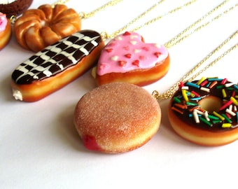 Donut Necklace, Large Doughnut Pendant Necklace, Kawaii Necklace, Polymer Clay Food Jewelry