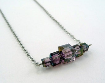 Lilac Crystal Bar Necklace, Simple Crystal Jewelry, Purple Crystal, Swarovski Crystals, Crystal Cube Pendant, Bridal Jewelry, Prom Jewelry