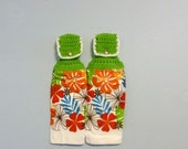 Hanging Kitchen Towels ,Crochet Button Top, Matching Pair,Hostess Gift, Hanging Kitchen Towel Set,Dish Cloths,Flowers
