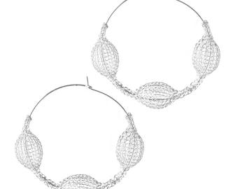 Large Silver earrings GIANT hoop earrings Unique jewelry FASHION forward wire crochet hoops- Gypsy bohemian fashion