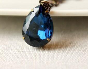 Sapphire Blue Rhinestone Necklace / Large Pendant Jewel Necklace / Pendant Necklace