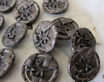 Great Set of 4 Small ANTIQUE Tinted Metal BUTTONS