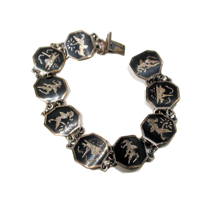vintage siam sterling bracelet thai nielloware mekala link