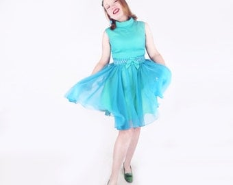 60s Bright Green and Blue Layered Party Dress with Jeweled Belt M L