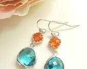 Silver Earrings, Teal Teardrop, Orange Glass, Two Tone, Bridesmaid Earrings