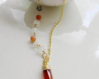 Carnelian Bullet Necklace, Moonstone Chain, Eletorplated 14k Gold Cap, Layering Necklace, Gardendiva