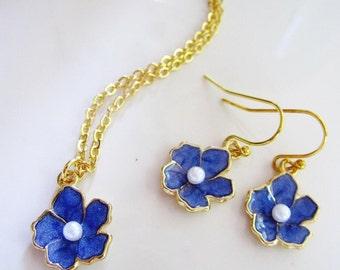 Blue Flower Necklace, Periwinkle Earrings, Earring Necklace Set, Flower Girl Jewelry, Flower Charm, Bridesmaid Necklace, Gardendiva
