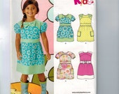 Girls Sewing Pattern New Look E6116 Girls Dress with Yoke and Pocket Boutique Party Size 3 4 5 6 7 8 Breast 22-27 UNCUT  99
