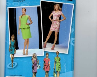 Misses Sewing Pattern Simplicity 1650 Misses and Petite Project Runway Dress with Peplum Size 4 6 8 10 12 Bust 29 30 31 32 34 UNCUT  99