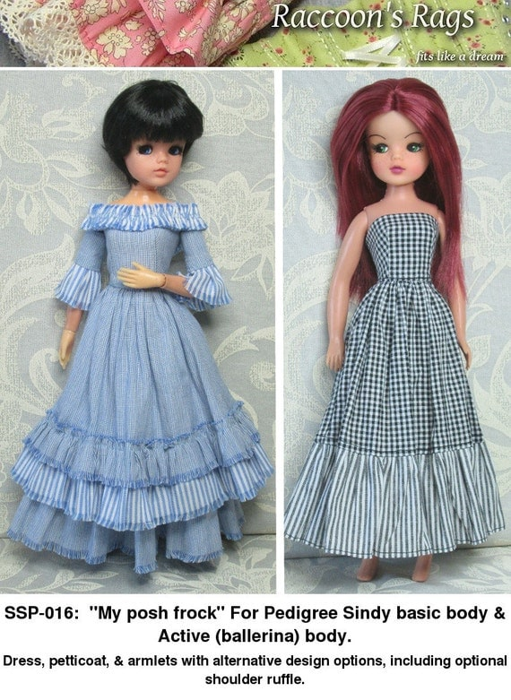 "STRAIGHTFORWARD Sewing Pattern PDF- SSP-016: ""My Posh Frock"" Dress, petticoat, and armlets, for Pedigree Sindy and Active Sindy."