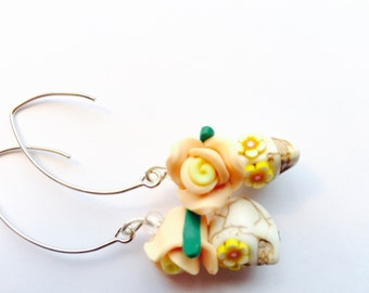 Day of the Dead Rose Sugar Skull Earrings in Peach and Yellow