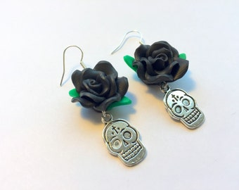 Sugar Skull Earrings Day of the Dead Black and Silver