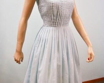 Vintage 50s 60 Dress . Powder Blue Full Skirt Pintucked Bodice Sun Dress . S M