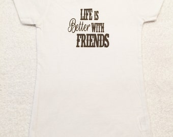 Girls White Tee Shirt White Brown Tee Shirt
