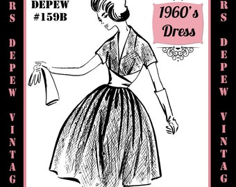 Vintage Sewing Pattern 1960's Evening or Cocktail Dress in Any Size - PLUS Size Included - Depew 159B -INSTANT DOWNLOAD-