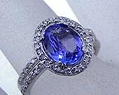 AAA 2.32 Carat 10x7mm Natural Tanzanite set in 14K White gold diamond bridal set(.50ct) 1415(2) B108