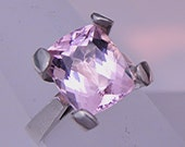 AAAA  Pink Morganite Cushion Cut 4.85 Ct 11x9mm Natural Untreated Gemstone in 14K white gold ring 1810