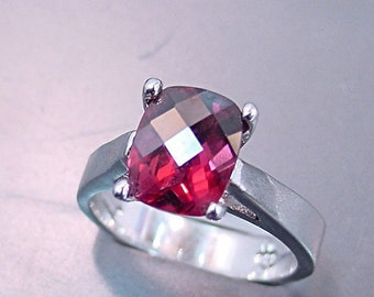 AAAA Natural Raspberry Red Rhodolite Garnet   10x8mm  3.12 Carats   in 14K white gold ring and available in yellow gold 0698 MMM