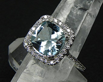 AAA Aquamarine Natural Cushion cut 8x8mm 1.97 ct  14K white gold Halo Engagement Ring w/ .30 carats of diamonds HB88  1290