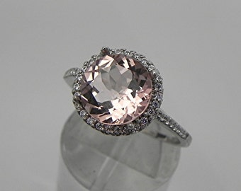 AAAA Peach Morganite   9.5mm  2.65 Carats   14K White gold and diamond Halo ring 0115 y